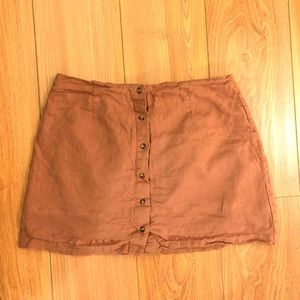 TOPSHOP button up brown linen mini skirt